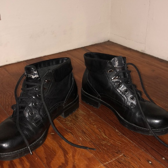 Earth Spirit Black Leather Combat Boots